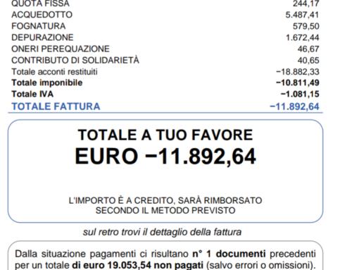 ACQUA: ACEA ATO2  INVIA FATTURA DA € 19.053.54. A.E.C.I. CASTELLI ROMANI LA FA ANNULLARE.